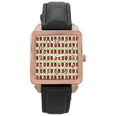 Christmas Pattern Rose Gold Leather Watch