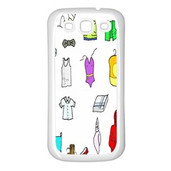 Clothing Boots Shoes Shorts Scarf Samsung Galaxy S3 Back Case (white) by Nexatart