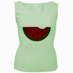 Food Slice Fruit Bitten Watermelon Women s Green Tank Top