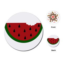 Food Slice Fruit Bitten Watermelon Playing Cards (round)