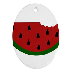 Food Slice Fruit Bitten Watermelon Oval Ornament (two Sides) by Nexatart
