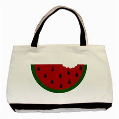 Food Slice Fruit Bitten Watermelon Basic Tote Bag (two Sides) by Nexatart