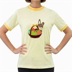 Easter Bunny Eggs Nest Basket Women s Fitted Ringer T Shirts