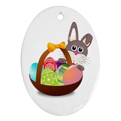 Easter Bunny Eggs Nest Basket Oval Ornament (two Sides)