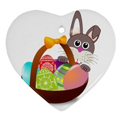 Easter Bunny Eggs Nest Basket Heart Ornament (Two Sides)
