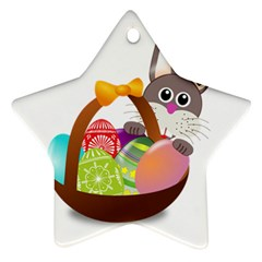Easter Bunny Eggs Nest Basket Star Ornament (Two Sides) by Nexatart