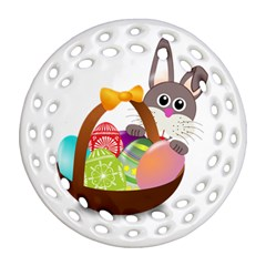 Easter Bunny Eggs Nest Basket Round Filigree Ornament (two Sides) by Nexatart
