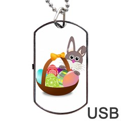 Easter Bunny Eggs Nest Basket Dog Tag Usb Flash (one Side)