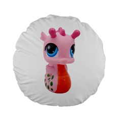 Dragon Toy Pink Plaything Creature Standard 15  Premium Flano Round Cushions by Nexatart