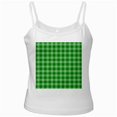 Gingham Background Fabric Texture White Spaghetti Tank