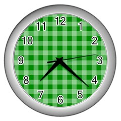 Gingham Background Fabric Texture Wall Clocks (silver)