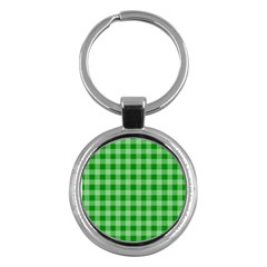 Gingham Background Fabric Texture Key Chains (round)