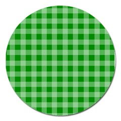 Gingham Background Fabric Texture Magnet 5  (round)
