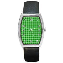 Gingham Background Fabric Texture Barrel Style Metal Watch by Nexatart