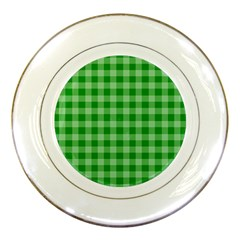 Gingham Background Fabric Texture Porcelain Plates