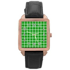 Gingham Background Fabric Texture Rose Gold Leather Watch