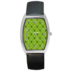 Green Christmas Tree Background Barrel Style Metal Watch