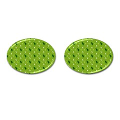 Green Christmas Tree Background Cufflinks (oval) by Nexatart