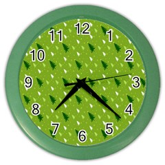 Green Christmas Tree Background Color Wall Clocks