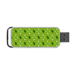Green Christmas Tree Background Portable Usb Flash (two Sides)