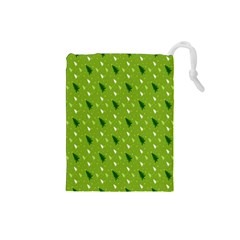 Green Christmas Tree Background Drawstring Pouches (small)  by Nexatart