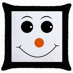Happy Face With Orange Nose Vector File Throw Pillow Case (black)