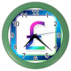 Icon Pound Money Currency Symbols Color Wall Clocks