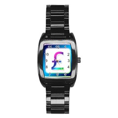 Icon Pound Money Currency Symbols Stainless Steel Barrel Watch
