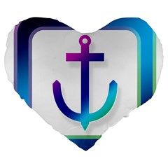 Icon Anchor Containing Fixing Large 19  Premium Heart Shape Cushions