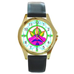 Pattern Template Stained Glass Round Gold Metal Watch