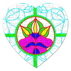 Pattern Template Stained Glass Jigsaw Puzzle (heart) by Nexatart
