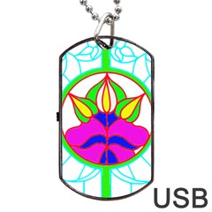Pattern Template Stained Glass Dog Tag Usb Flash (one Side)