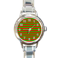 Pattern Lines Red Green Round Italian Charm Watch