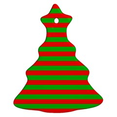 Pattern Lines Red Green Ornament (christmas Tree)