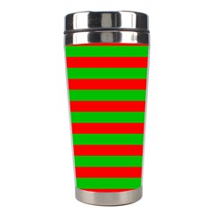 Pattern Lines Red Green Stainless Steel Travel Tumblers