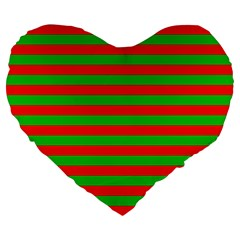 Pattern Lines Red Green Large 19  Premium Flano Heart Shape Cushions by Nexatart