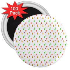 Fruit Pattern Vector Background 3  Magnets (100 Pack) by Nexatart