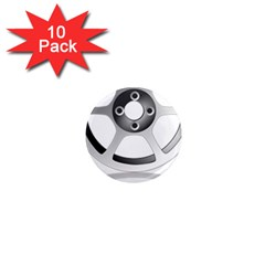 Car Wheel Chrome Rim 1  Mini Magnet (10 Pack)