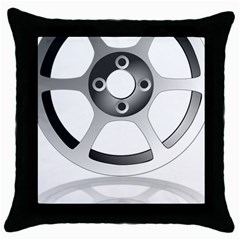 Car Wheel Chrome Rim Throw Pillow Case (black) by Nexatart