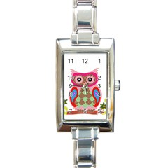 Owl Colorful Patchwork Art Rectangle Italian Charm Watch by Nexatart
