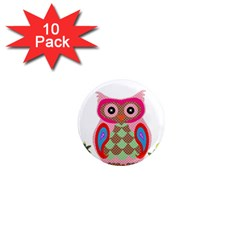 Owl Colorful Patchwork Art 1  Mini Magnet (10 Pack)