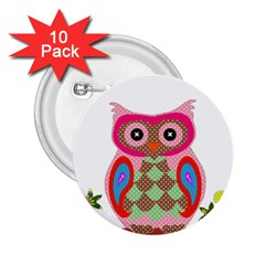 Owl Colorful Patchwork Art 2 25  Buttons (10 Pack)  by Nexatart
