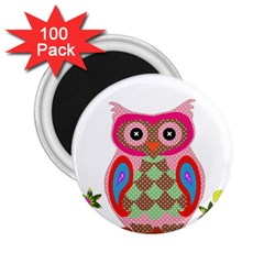 Owl Colorful Patchwork Art 2 25  Magnets (100 Pack)  by Nexatart