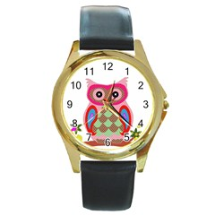 Owl Colorful Patchwork Art Round Gold Metal Watch