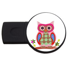 Owl Colorful Patchwork Art Usb Flash Drive Round (2 Gb) by Nexatart