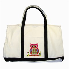 Owl Colorful Patchwork Art Two Tone Tote Bag by Nexatart