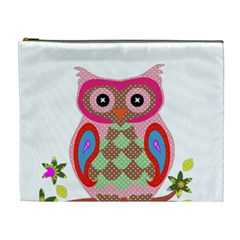 Owl Colorful Patchwork Art Cosmetic Bag (xl) by Nexatart