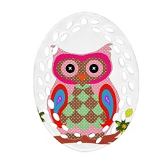 Owl Colorful Patchwork Art Ornament (oval Filigree)