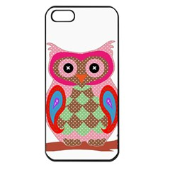 Owl Colorful Patchwork Art Apple Iphone 5 Seamless Case (black) by Nexatart