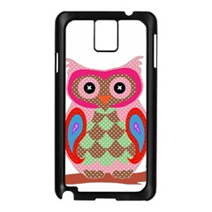 Owl Colorful Patchwork Art Samsung Galaxy Note 3 N9005 Case (black)